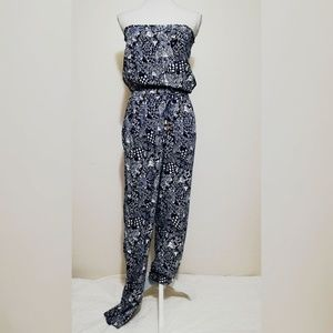 🆕💖Lilly Pulitzer Blue & White Strapless Jumpsuit
